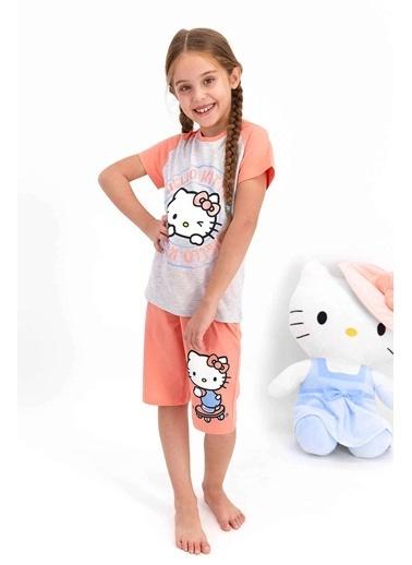 Hello Kitty Hello Kitty Lisanslı Bejmelanj Kız Çocuk Kapri Takım Gri